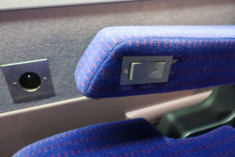 Recliner Controls and Outlet - First Class TGV    Photo:  Calvin Wood