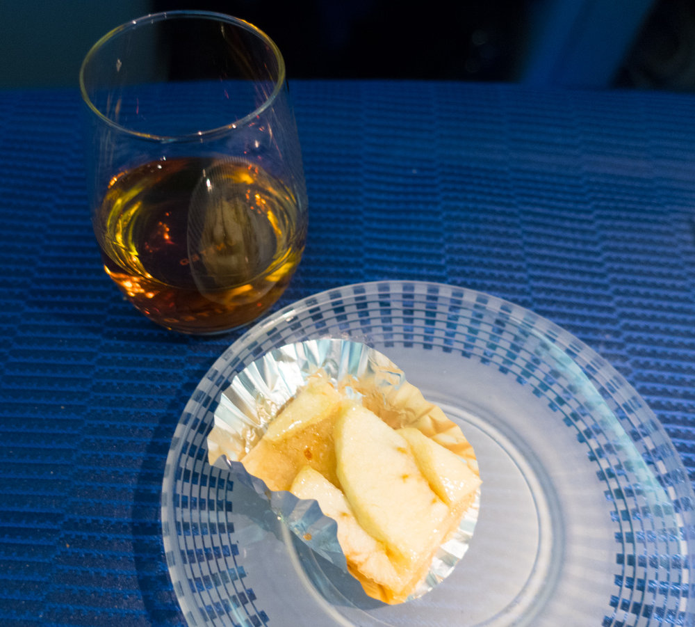 Cognac and Apple Tart -  United Business Class 777-200     Photo: Calvin Wood