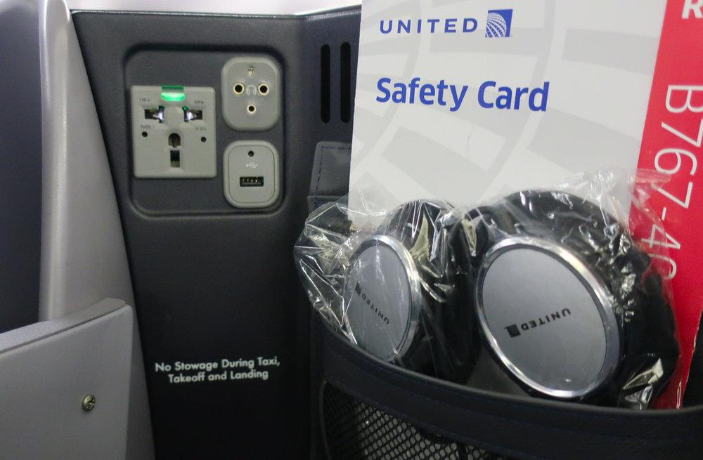Storage Shelf and Power - United Boeing 767-400  Photo; Calvin Wood