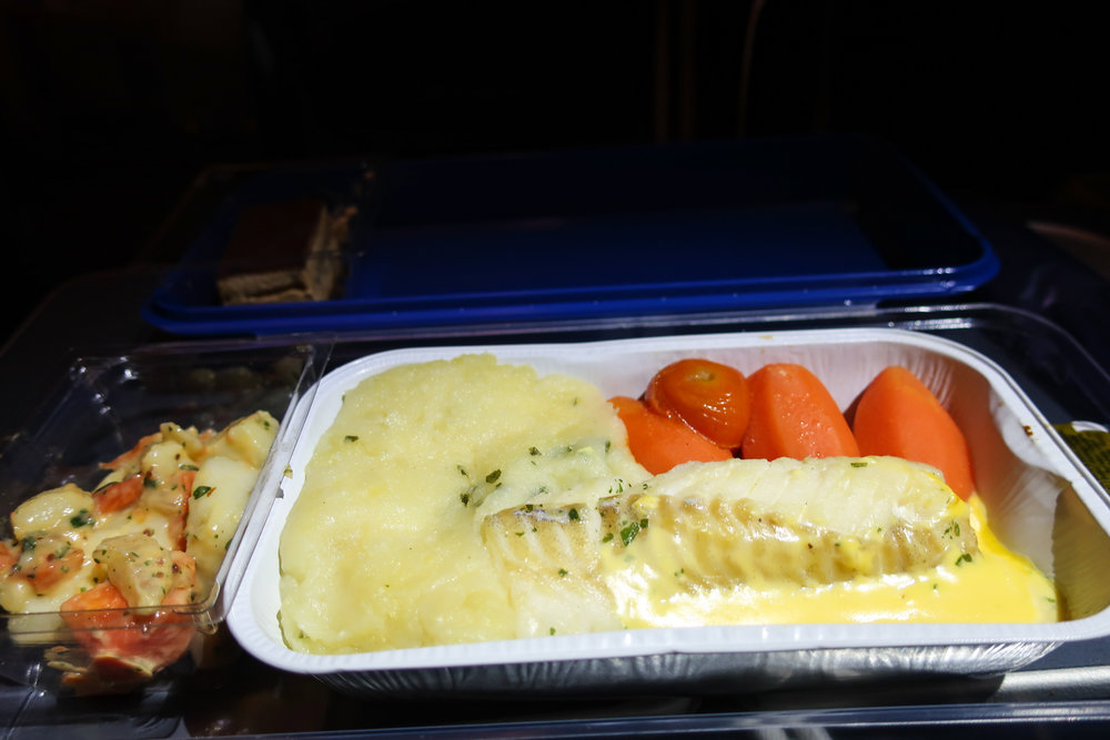Fish Dish - Norwegian Airlines Premium Cabin    Photo; Calvin Wood