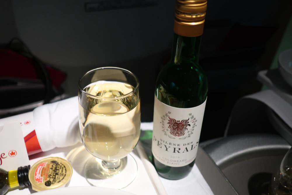 Wine Service - Air Canada Premium Rouge    Photo:  Calvin Wood
