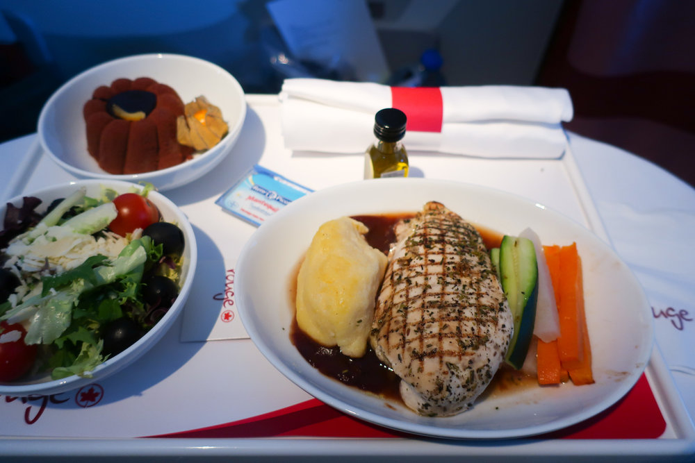 Baked Chicken Main  - Air Canada Rouge - Premium Economy   Photo: Calvin Wood