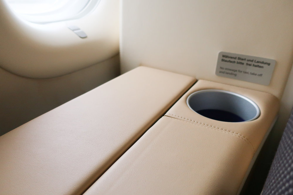 Cup Stowage - Lufthansa First Class B747    Photo: Calvin Wood