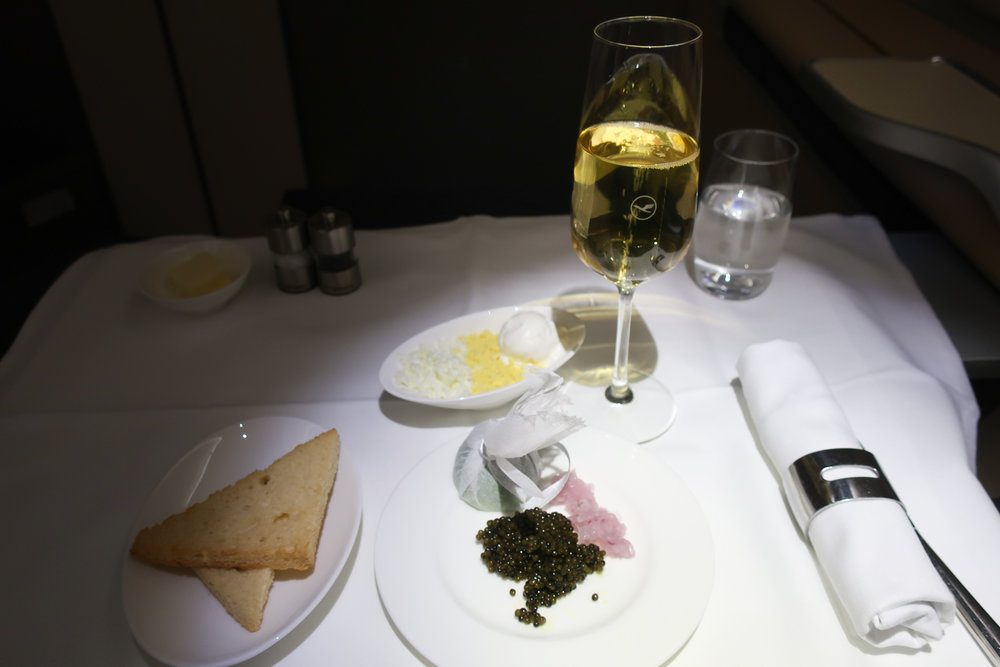 Caviar Service - LH First Class    Photo: Calvin Wood