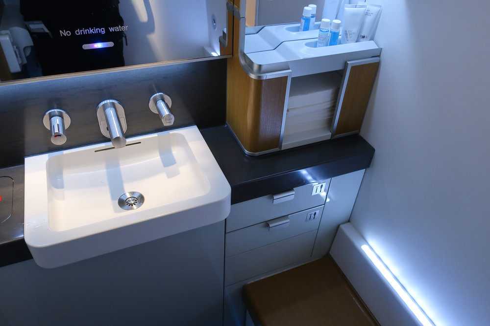 First Class Bathroom - Lufthansa  Photo: Calvin Wood