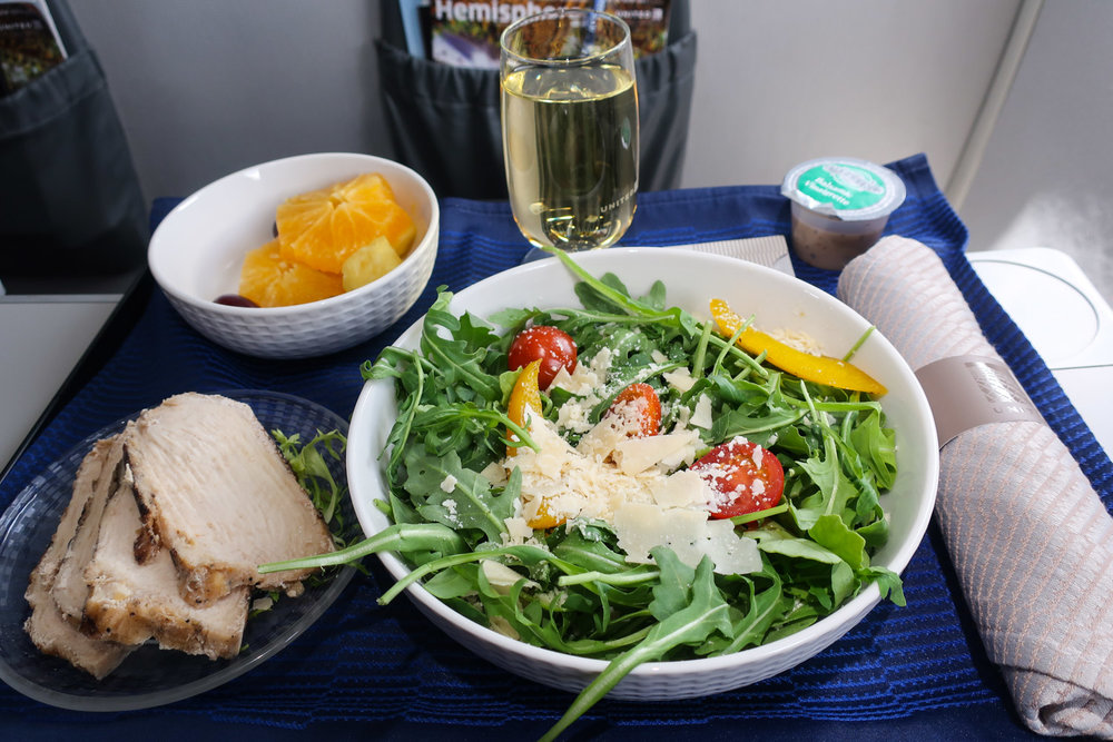 First Class Lunch- Chicken Salad - United Airlines  Photo: Calvin Wood
