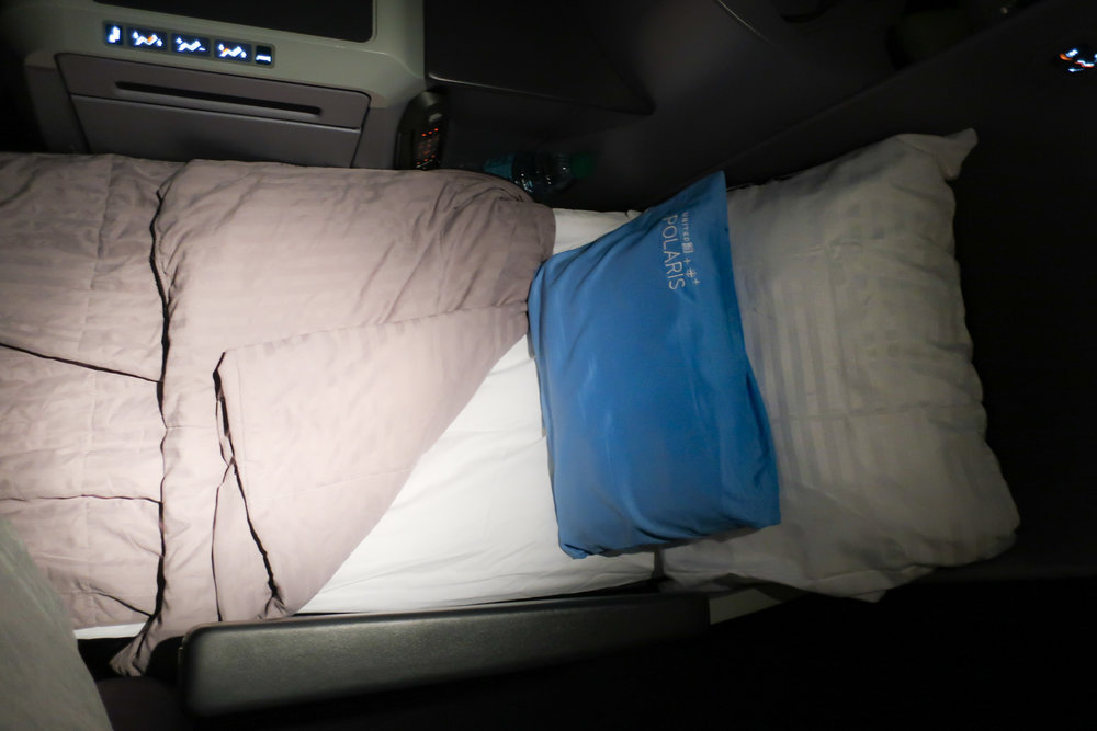 Seat in Bed Mode - Totally Amazing - United B 767-400  Photo: Calvin Wood