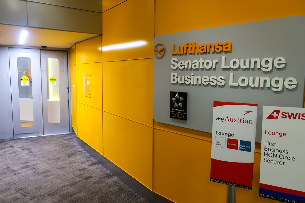 Entrance - Lufthansa Senator Lounge - Newark  Photo: Calvin Wood