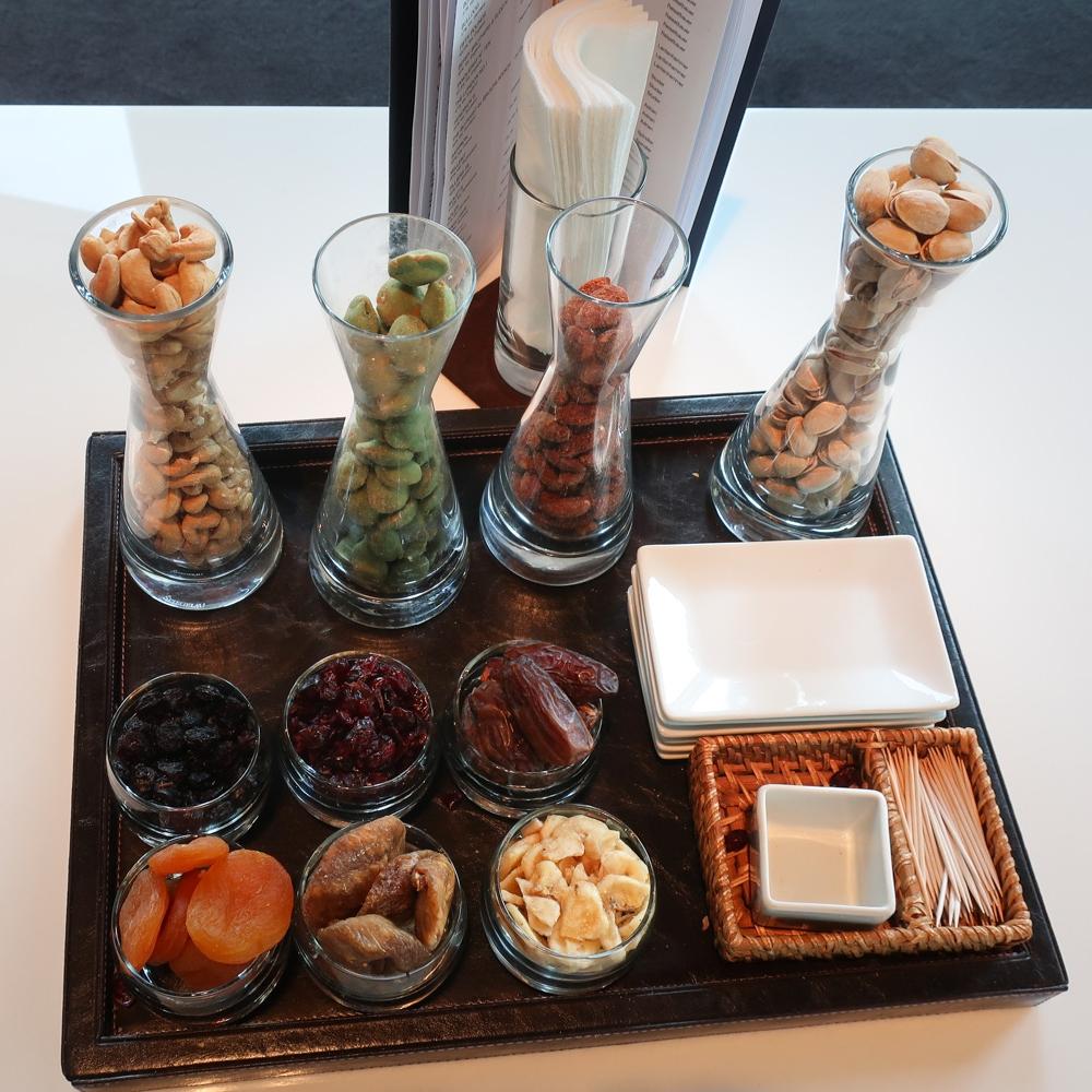 Table Snacks -  First Class Terminal  - Lufthansa  Photo: Calvin Wood