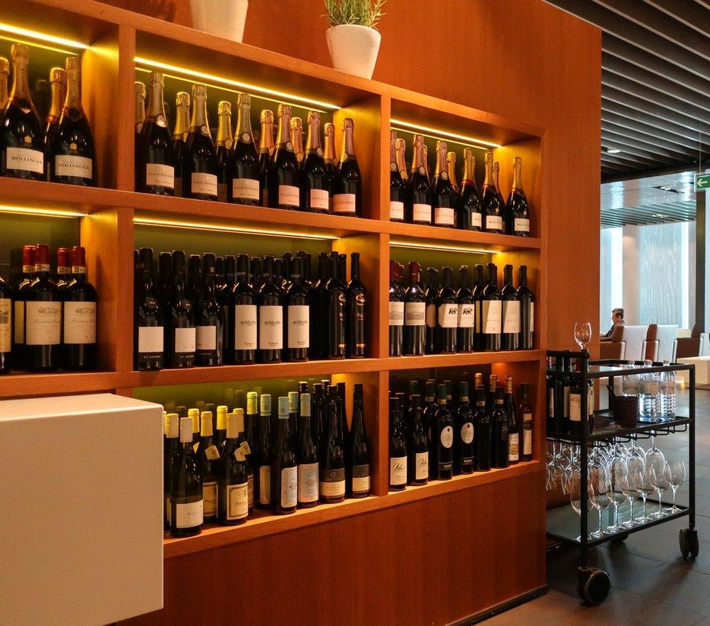 Wall of Wine & Champagne - Lufthansa's  First Class Terminal  - Frankfurt  Photo: Calvin Wood