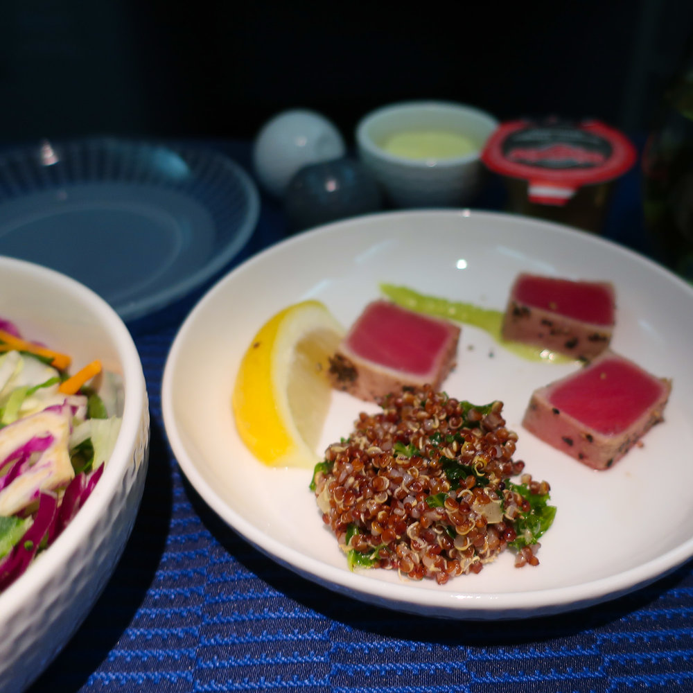 Salmon Starter - United Airlines Business Class  Photo: Calvin Wood