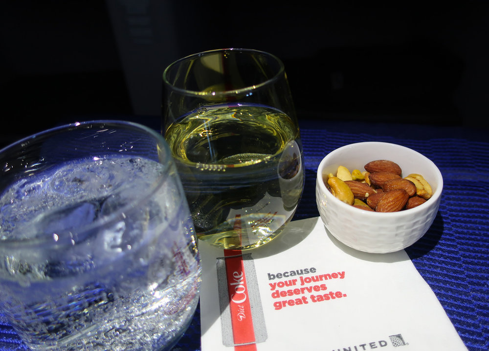Beverage Service After Take-Off - United Polaris Business Class   Photo: Calvin Wood
