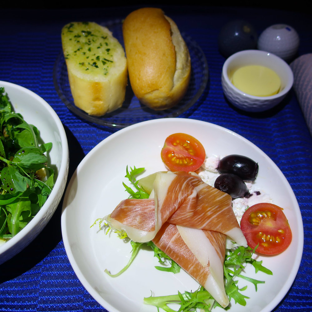 Prosciutto Appetizer - Melbourne to LAX  - United Airlines    Photo: Calvin Wood