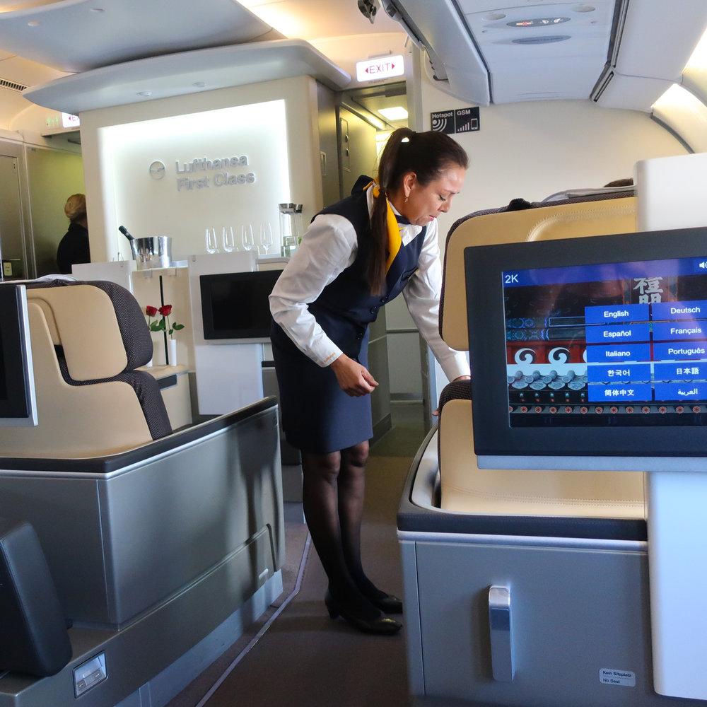 Lufthansa First Class Cabin - Airbus 340  Photo: Calvin Wood