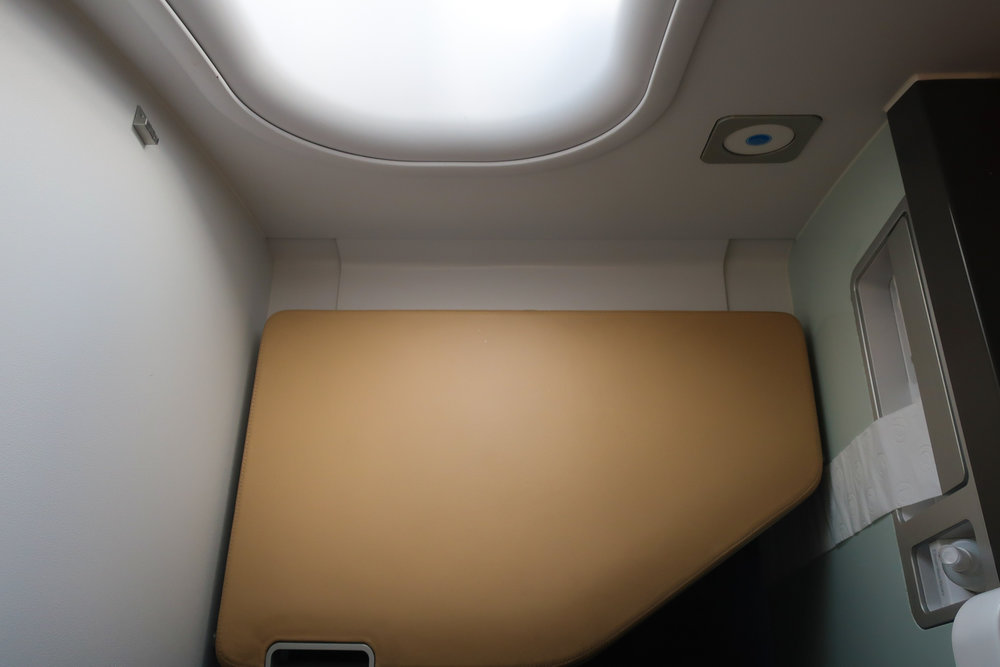 Lavatory Bench - Lufthansa First Class - A340    Photo: Calvin Wood
