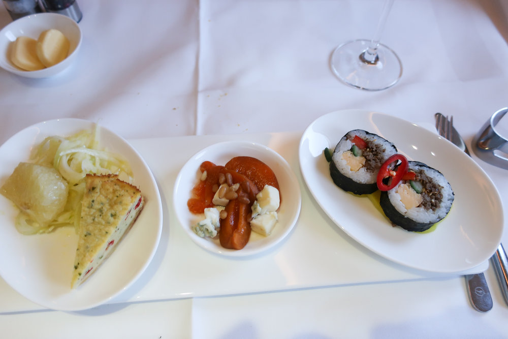 Appetizers - Lufthansa First Class   Photo: Calvin Wood
