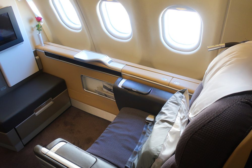 Lufthansa First Class to Seoul - Airbus 340  Photo: Calvin Wood