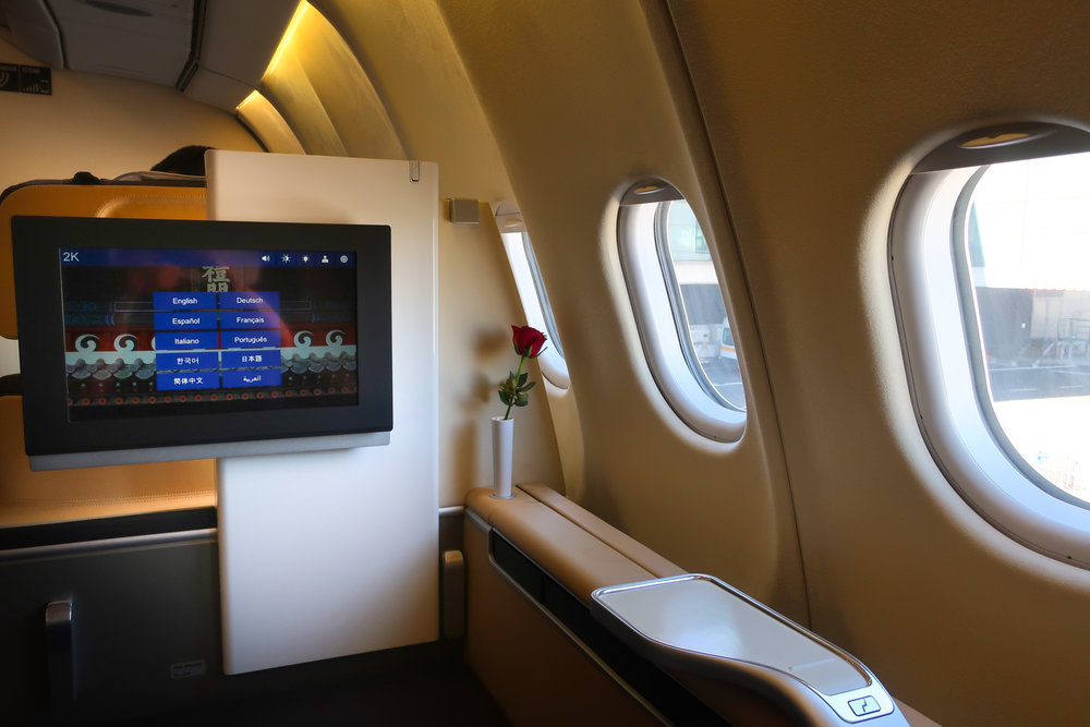 Video Screens - Lufthansa First Class A340   Photo: Calvin Wood