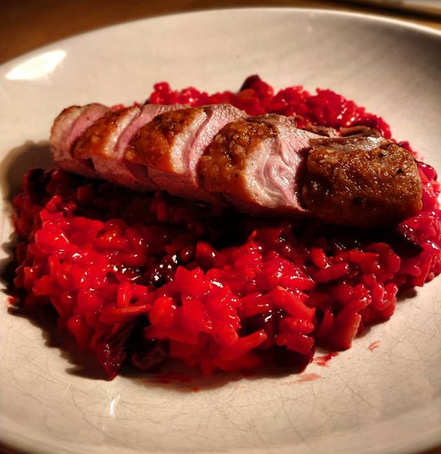 When students cancel their lessons, I do this! Duck Breast & Roasted Beetroot and Almond Risotto  #nofilter #foodporn #duckface