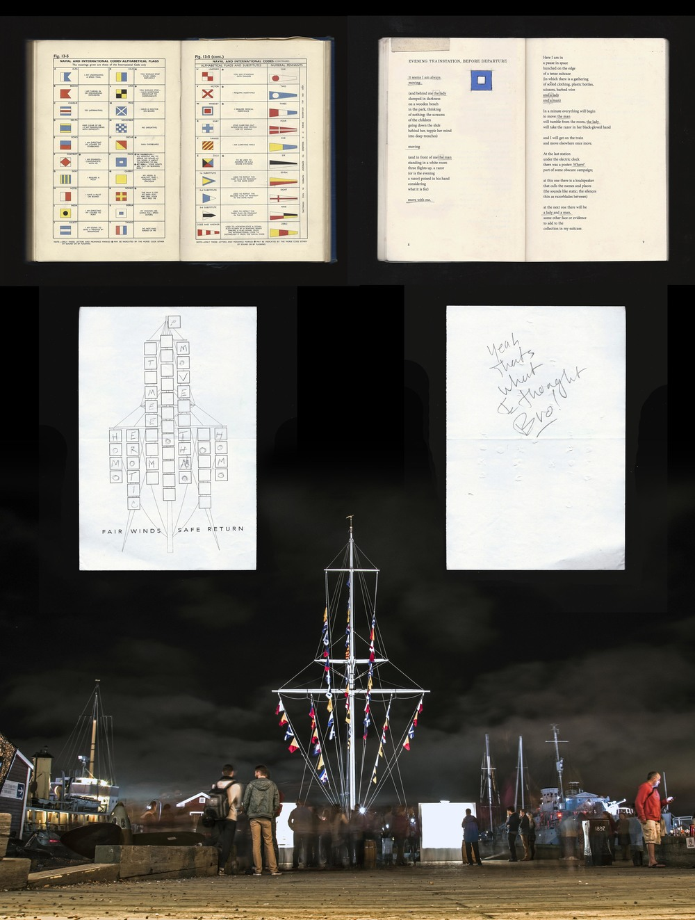 "FW; SR,  2014. Project Summary, top to bottom : documents scanned for projections (left:  Admiralty Manual of Seasmanship ,1964; right: Atwood, Margaret. ""Evening Translation; Before Departure,"" 1966); viewer participation forms (shown: front and back of 1/850 forms); installation view by photographer, Andrew Quon."