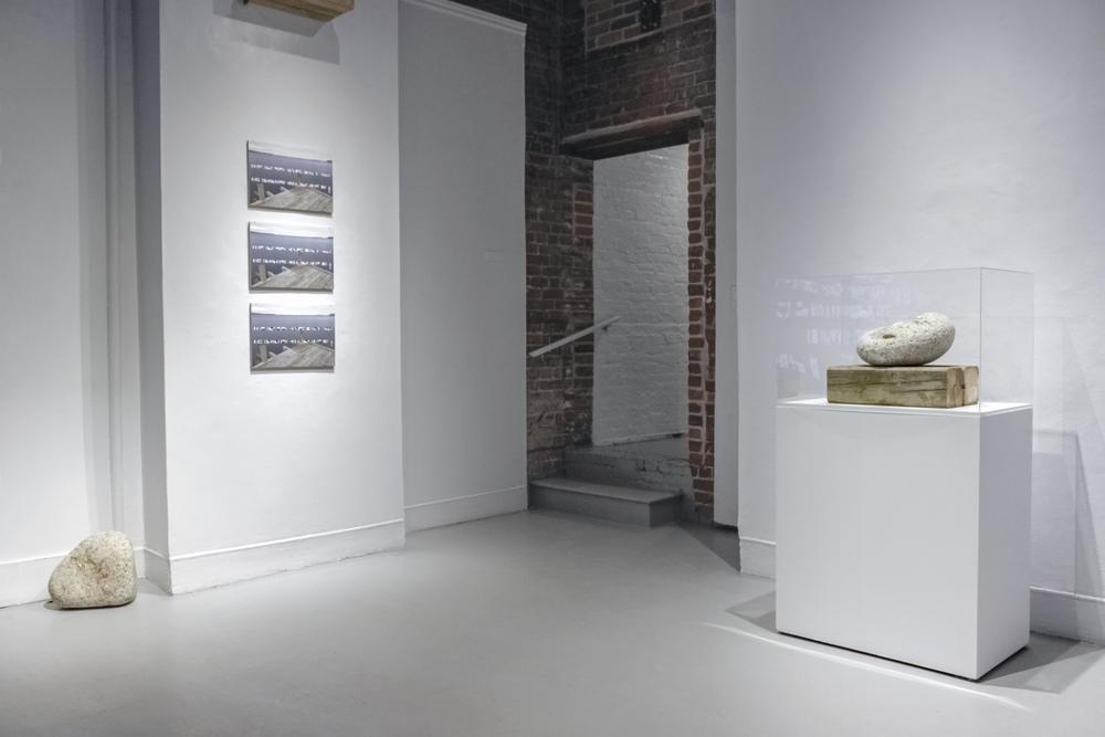 Vorspiel , 2016.Exhibition installation view with stones in gallery.