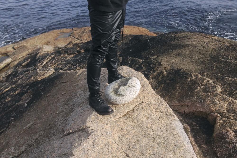 Vorspiel , 2016. Process documentation: Michael with a broken stone for  Vorspiele .