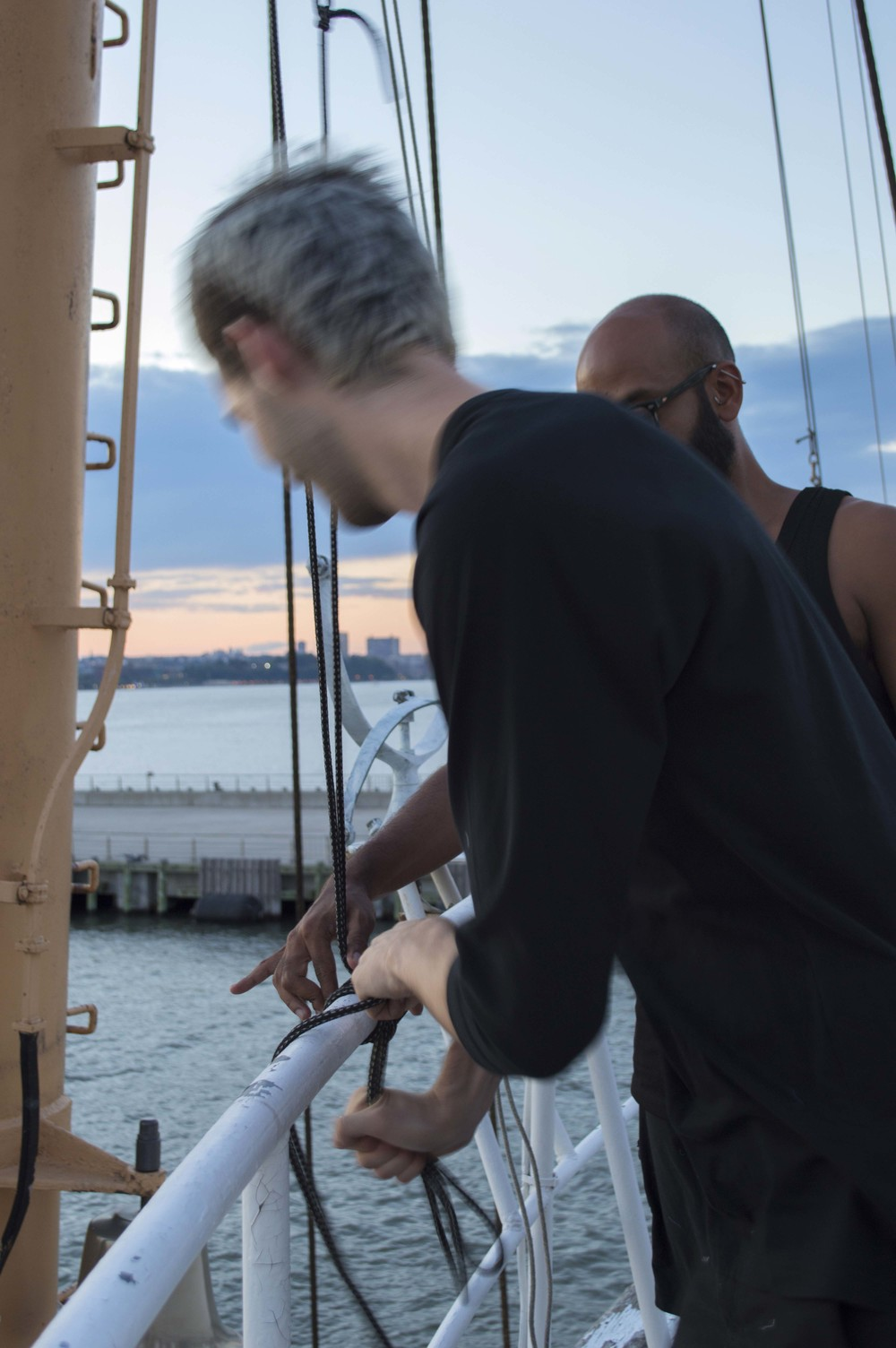 It's Not Purple , 2015 . Performance and installation views:Josey rigging flags. Photographer, Ariana Martinez.