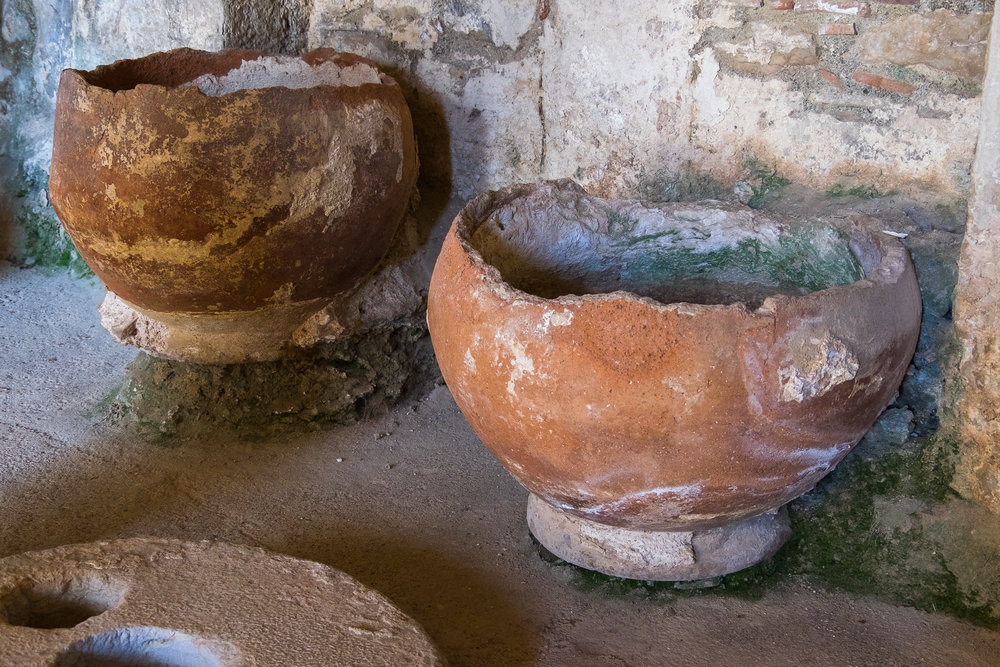 old clay bowls and pots