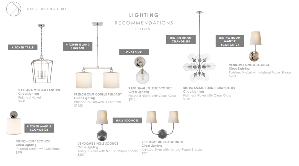 left to right clockwise: Darlana Medium Lantern, French Cuff Double Pendant, Katie Small Globe Sconce, Bistro Small Round Chandelier, Vendome Single Sconce (polished nickel), Vendome Double Sconce (antique silver), Vendome Single Sconce (antique silver), French Cuff Sconce.