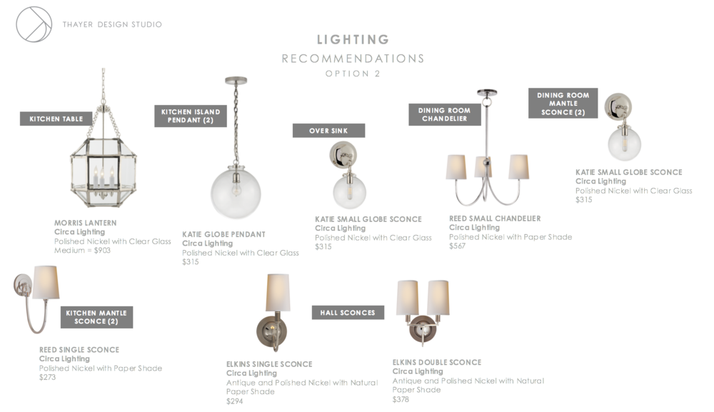 left to right clockwise:   M  orris Lantern ,  K  atie Globe Pendant ,  Katie Small Globe Sconce,   Reed Small Chandelier ,  Katie Small Globe Sconce,   Elkins Sconce ,  Elkins Double Sconce ,  Reed Single Sconce .