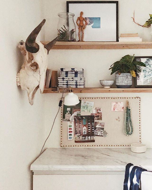Built some shelves in our office and I'm just one step closer to being a certifiable plant lady once I fill it up with all kinds of little green babies 🌱And my skull 💀 is still one of my favorite Craigslist finds of all time.