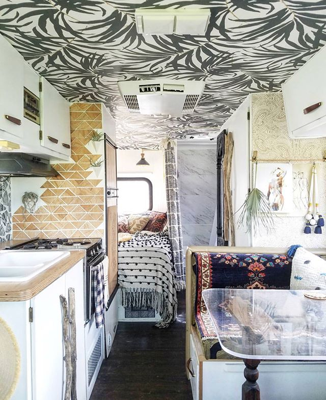 Sooo.  We bought a vintage camper and I'm getting an insane amount of inspiration from @liz_kamarul amazing RV makeover. We have a longggg way until we get to the fun decorating part (replacing wood rotted panels, fixing windows and electrical, painting everything since the previous owner had a fetish for red apparently) but the day dreaming is the best part.  Swipe to see what we're working with.