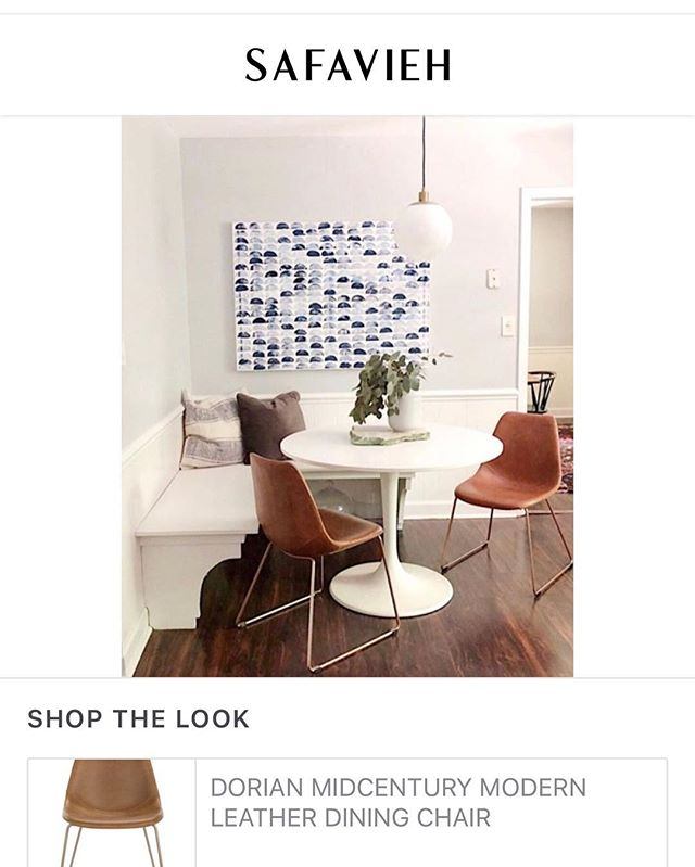 Pretty exciting when one of your favorite brands uses your home to spotlight their items. Thanks @safavieh for the beautiful chairs and the feature on our kitchen!