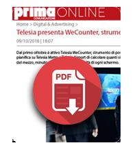 9 ottobre 2018  Telesia presenta WeCounter, strumento di post analisi per la Go Tv