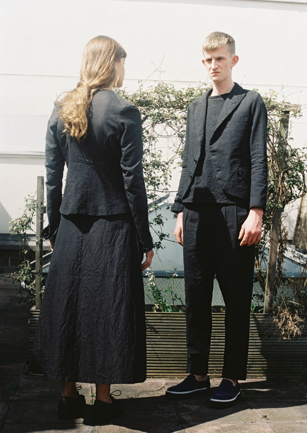 Two timeless suits by Geoffrey b. Small photographed by Ryan Skelton. Models:  Jack Appleyard & Pauline de Bionay