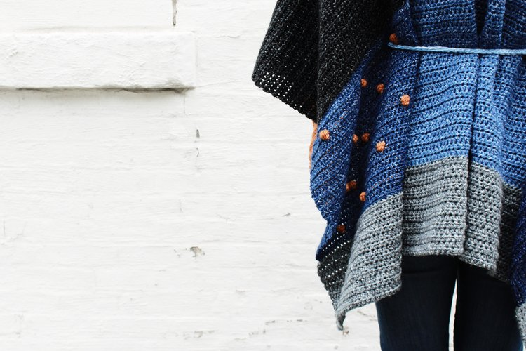 Shades of Indigo Poncho — Two of Wands