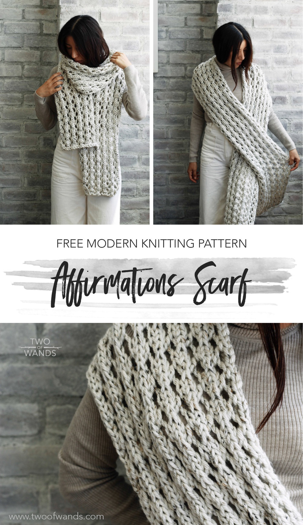 Affirmations Scarf pattern by Two of Wands