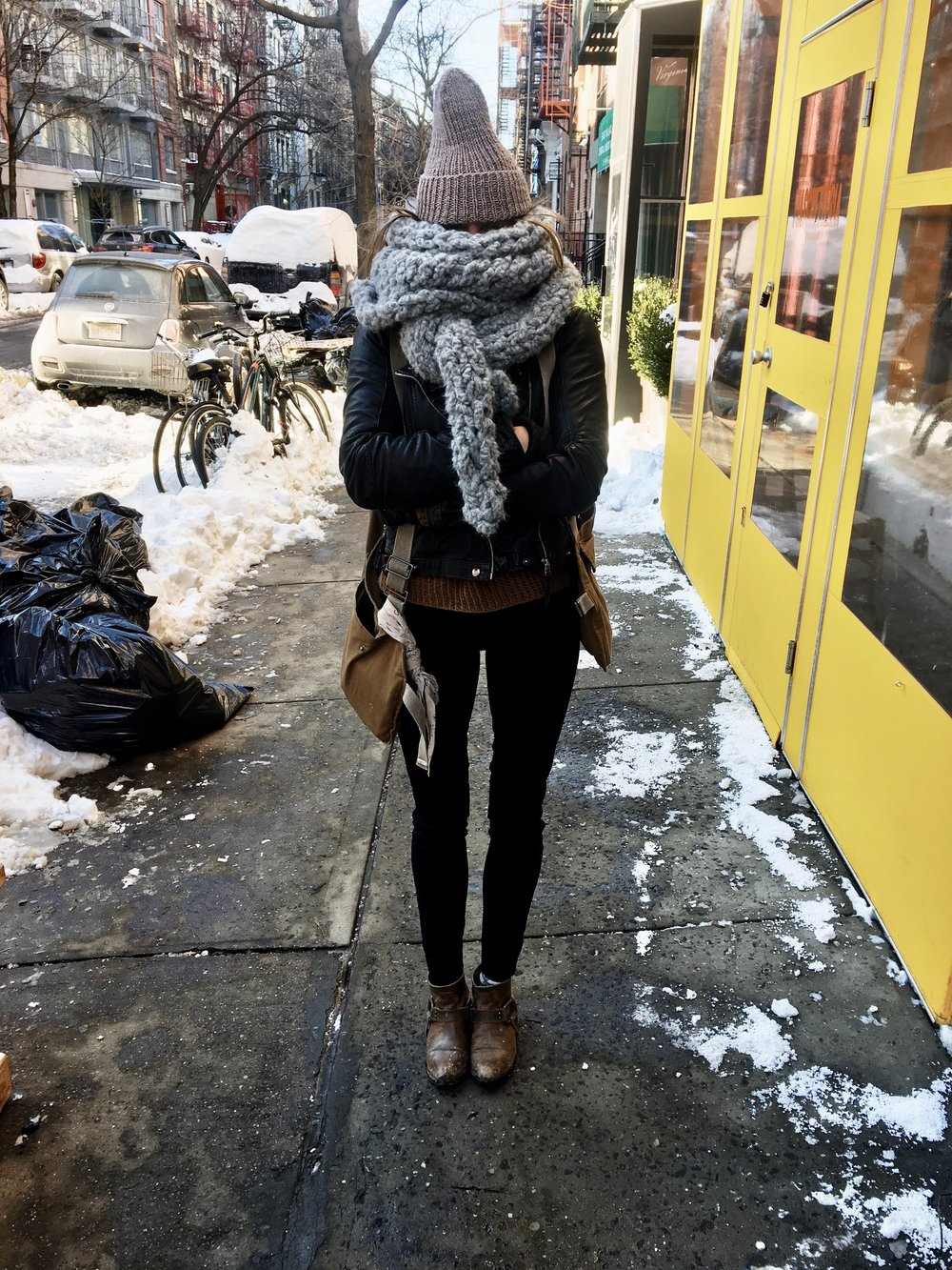 Bundled up on the streets of the East Village, sporting my new  Mariner's Cap  and upcoming Tundra Scarf.