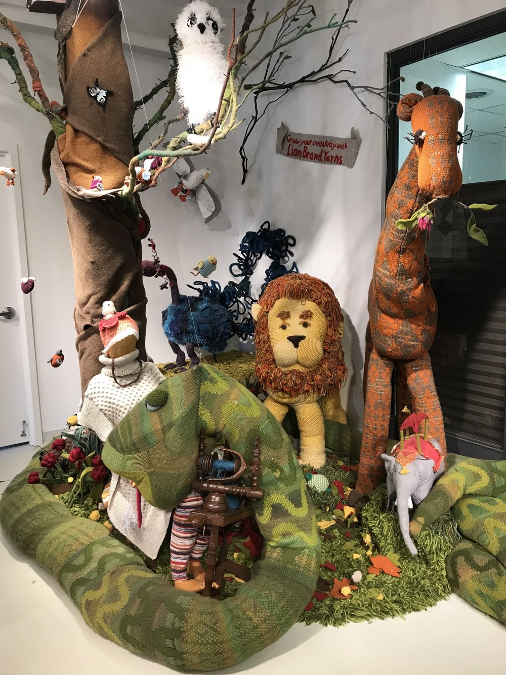 Yarn jungle at the Lion Brand Yarn Outlet.