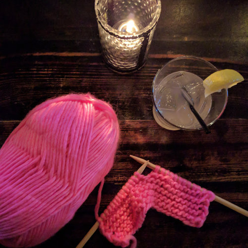 Knitting and cocktails go hand in hand.