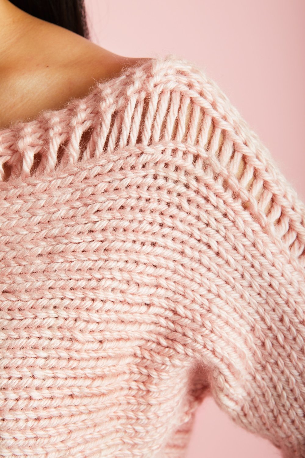 Cropped Drop Stitch Pullover