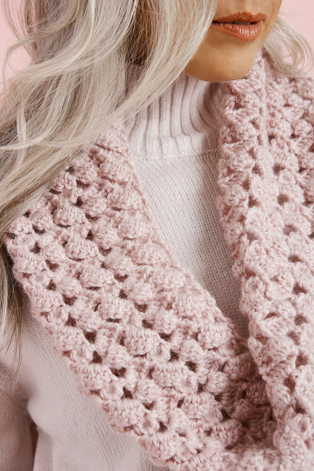 f160b71defb9 The Saugerties Cowl is an elegant crochet number that not only exudes  romance in color but also in design. It would be a lovely addition to any  Valentine s ...