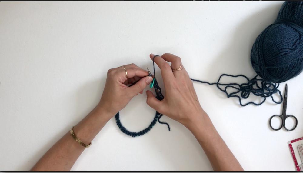 Wrap the working yarn around.