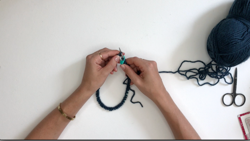 Start the knit stitch.