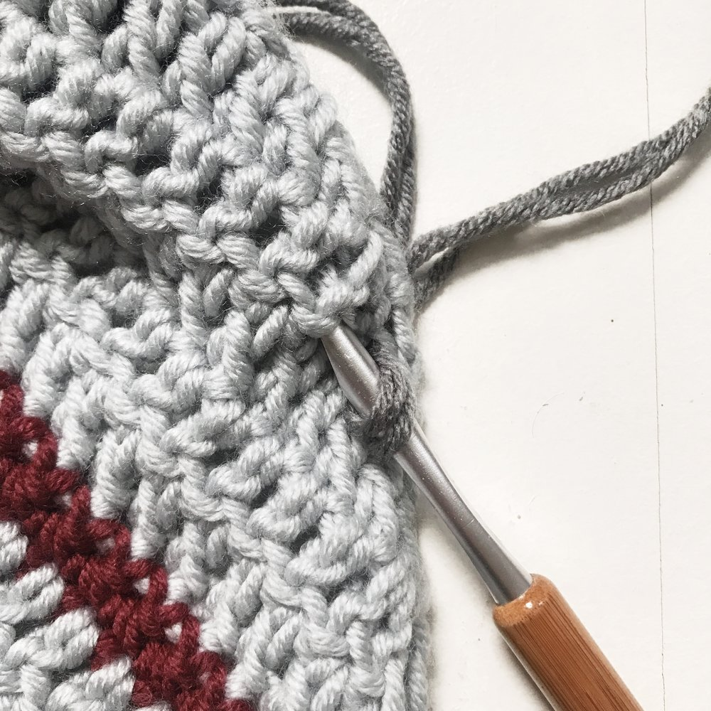 Insert hook into the next stitch.