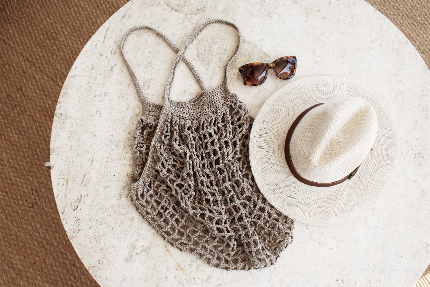 Handcrafted Crochet French Market Bag Chocolate Milk