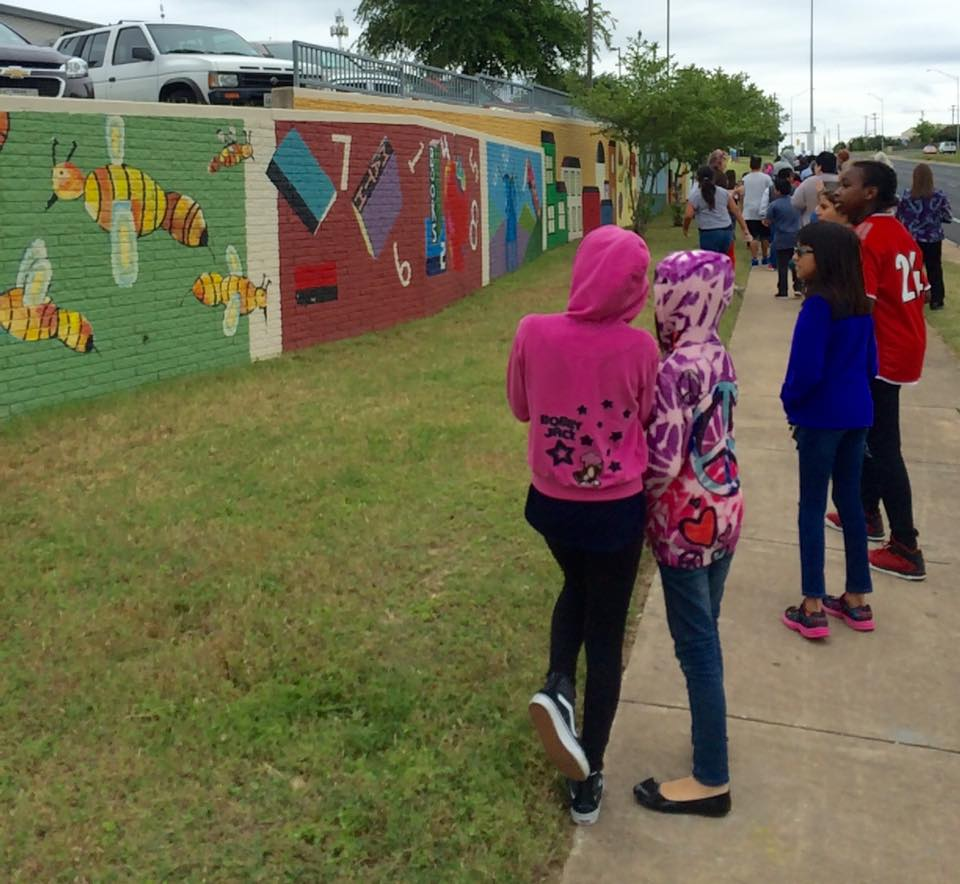 Students check out their new mural