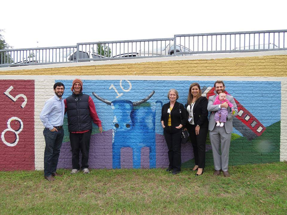 From Left to Right: District 4 City Councilman Greg Casar, Artist Ethan Azarian, District 3 AISD Trustee Ann Teich, McBee Principal Maggie De La Rosa, North Austin Creatives Chairman Stuart Wallace