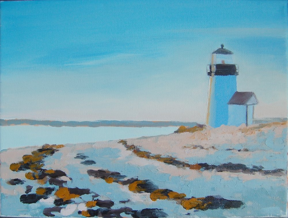 "Brant Point at Sunrise   oil on canvas  9""x 12"""