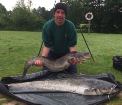 Gary Constable with his Cats weighing                              36lbs 10ozs and 20lbs 5ozs